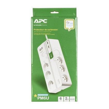 APC PM6U-FR SurgeArrest 6 gniazd 5V, 2.4A 2x USB