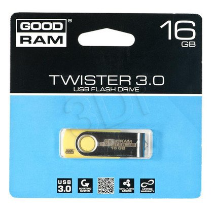 Goodram Flashdrive TWISTER 16GB USB 3.0 Żółty
