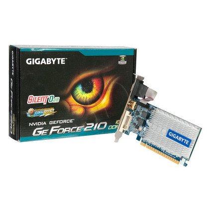 GIGABYTE GeForce 210 1024MB DDR3/64bit DVI/HDMI Silent PCI-E (520/1200) (chłodzenie pasywne)