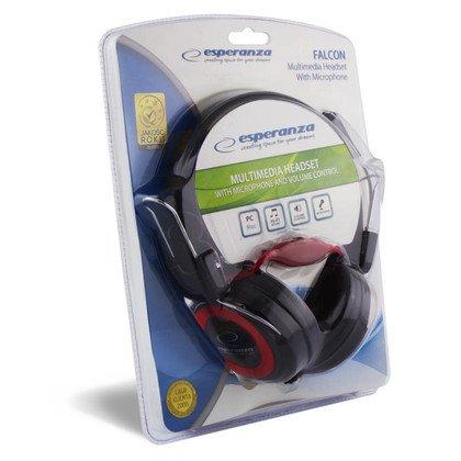 Słuchawki nauszne z mikrofonem Esperanza FALCON (Czarno-czerwony)