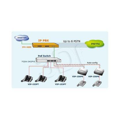 PLANET (VIP-156PE) Adapter VoIP dla Telefonów Analogowych / 1 x FXS / SIP / PoE /