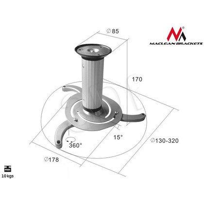 MACLEAN UCHWYT DO PROJEKTORA SUFITOWY MC-515 80-170MM 10KG SREBRNY