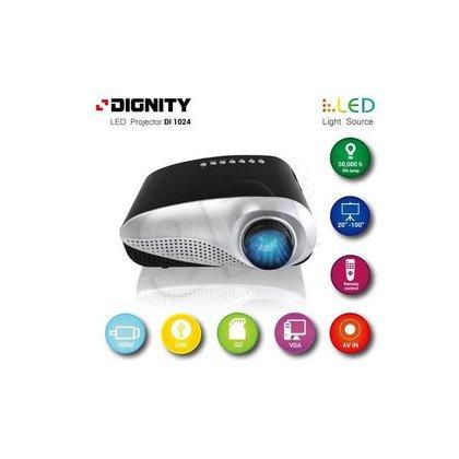 "DIGNITY PROJEKTOR MULTIMEDIALNY LAMPA LED; JASNOŚĆ 60 LUMENÓW, ROZMIAR 20""DO 100"", FULL HD, HDMI/USB/SD /VGA/AV/TV DI1024"