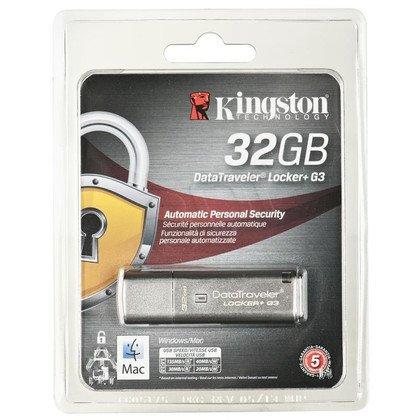 Kingston Flashdrive DataTraveler Locker+ G3 32GB USB 3.0 Srebrny