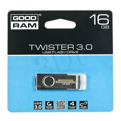 Goodram Flashdrive TWISTER 16GB USB 3.0 Czarny