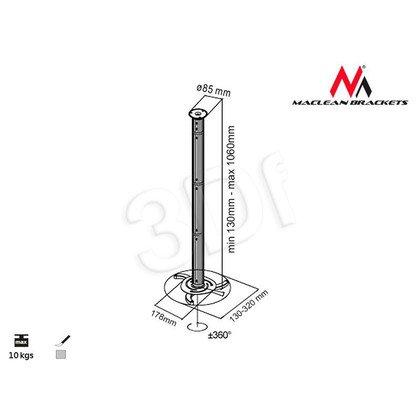 MACLEAN UCHWYT DO PROJEKTORA MC-517 SUFITOWY ODLEGŁOŚĆ 80MM - 980MM SREBRNY
