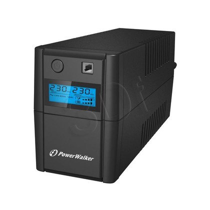 POWER WALKER UPS LINE-INTERACTIVE 800VA 2X PL 230V, PURE SINE WAVE, RJ11/45 IN/OUT, USB, LCD