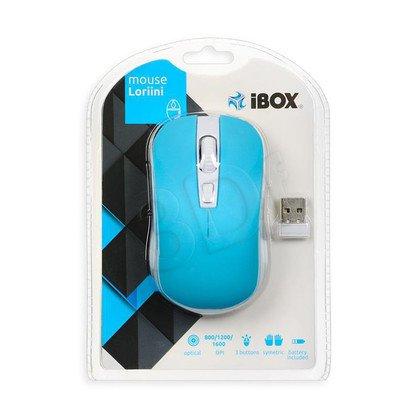 I-BOX Mysz bezprzewodowa optyczna Loriini Blue 1600dpi niebiesko-biała