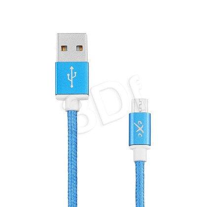 EXC UNIWERSALNY KABEL USB-MICRO USB, GLOSSY, 1.5 METRA, NIEBIESKI