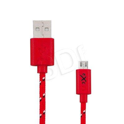 EXC UNIWERSALNY KABEL USB-MICRO USB, WEAVE, 2 METRY, CZERWONY