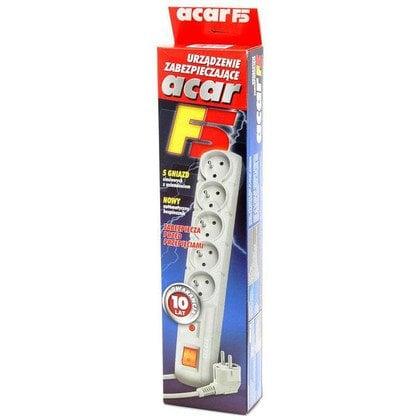 ACAR F5 - listwa przeciwprzepięciowa, 5 gniazd, cz. 1,5m