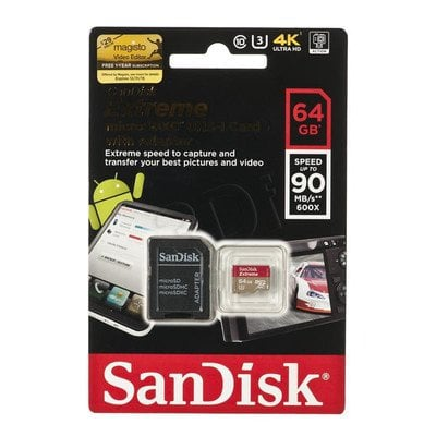 Sandisk micro SDXC Extreme 64GB Class 10,UHS Class U3 + ADAPTER microSD-SD
