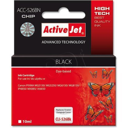 ActiveJet ACC-526Bk (ACC-526BN) tusz czarny do drukarki Canon (zam. CLI-526Bk) (CHIP)