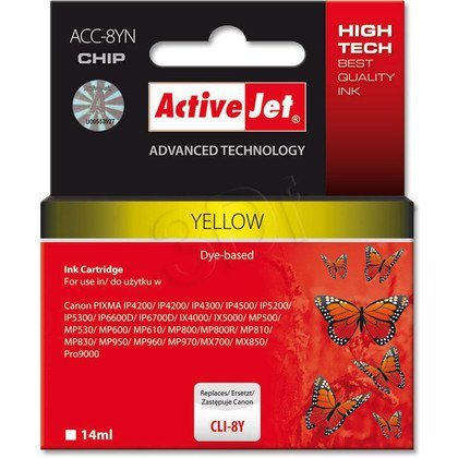 ActiveJet ACC-8Y (ACC-8YN) tusz Yellow do drukarki Canon (zam. CLI-8Y) (CHIP)