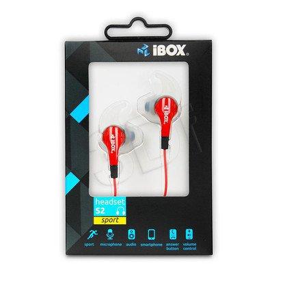 Słuchawki douszne z mikrofonem I-Box S2 Sport (czerwono-czarny)