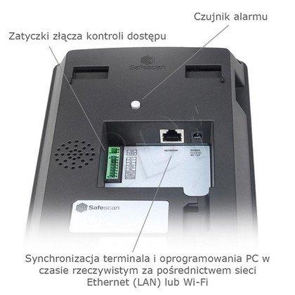 SAFESCAN SYSTEM REJESTRACJI CZASU PRACY TA-8025 CZUJNIK ODCISKÓW PALCÓW/KOD PIN/KONTROLA LAN I WIFI/EKRAN TFT/KOLOR CZARNY