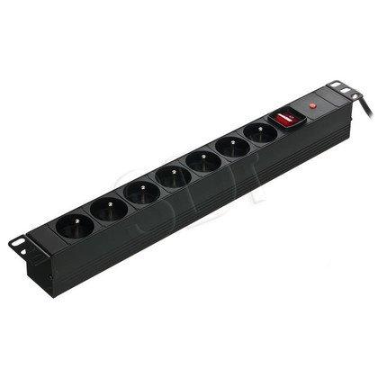 """ALANTEC Listwa zasilająca 19""""- 7x230V z wyłącznikiem i zabezpieczeniem"""
