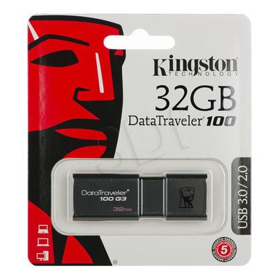 Kingston Flashdrive DataTraveler 100 G3 32GB USB 3.0 Czarny