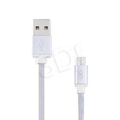 EXC UNIWERSALNY KABEL USB-MICRO USB, GLOSSY, 1.5 METRA, SREBRNY
