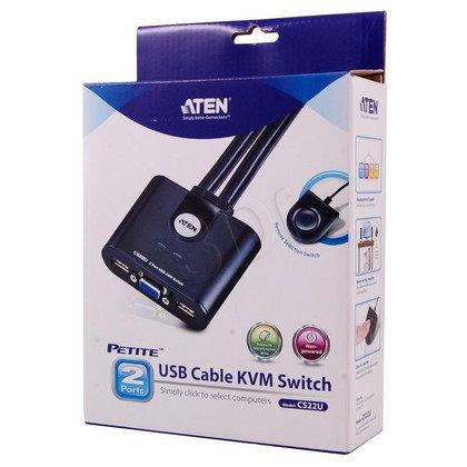 ATEN KVM 2/1 CS-22U USB- pilot zintegrowane kable