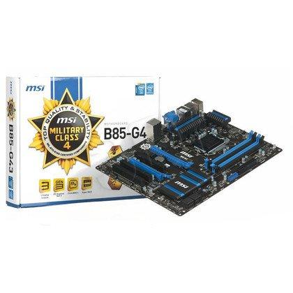 MSI B85-G43 Intel B85 LGA 1150 (2xPCX/VGA/DZW/LAN/SATA3/USB3/DDR3/CROSSFIRE)