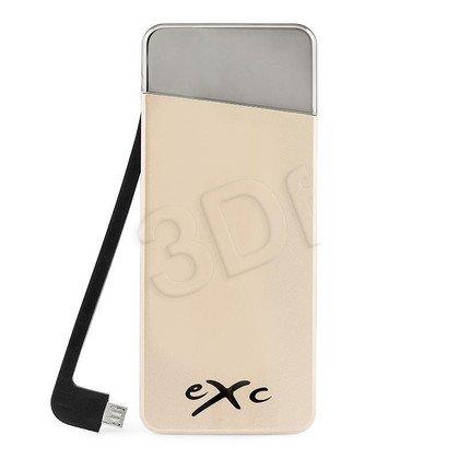 EXC POWERBANK 5500 mAh, USB (2.1A) + WBUDOWANY KABEL MUSB (1.0A), AMAZING, ZŁOTY