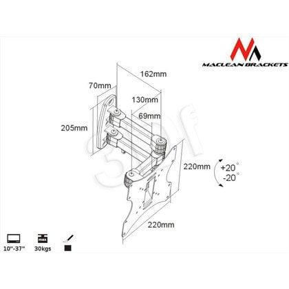 "MACLEAN UCHWYT DO TELEWIZORA LUB MONITORA 10-37"" MC-530 CZARNY MAX VESA 200X200 TV"