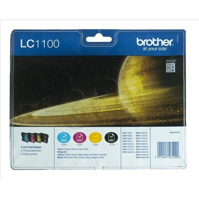 BROTHER Tusz LC1100VALBP=LC-1100VALBP, Zestaw CMYBk, LC1100C+LC1100M+LC1100Y+LC1100BK
