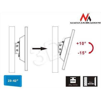 "MACLEAN UCHWYT DO TELEWIZORA LUB MONITORA 23-42"" MC-597 CZARNY MAX VESA 200X200 20KG TV"