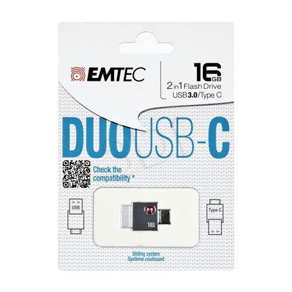 Emtec Flashdrive DUO USB-C 16GB USB 3.0 szary
