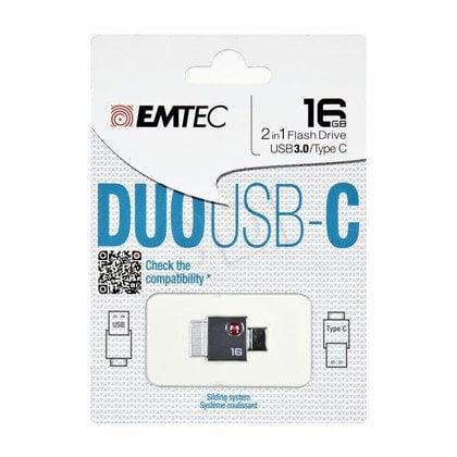 Emtec Flashdrive DUO USB-C 16GB USB 3.0 szary