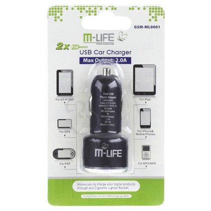 M-LIFE ŁADOWARKA SAMOCHODOWA DUAL USB 2A