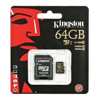 Kingston micro SDHC SDCA10/64GB 64GB Class 10,UHS Class U1 + ADAPTER microSD-SD