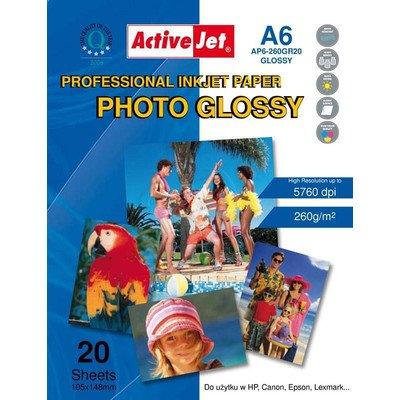 AP6-260GR20 Activejet Papier foto błyszczący żywicą powlekany A6 20szt 260g