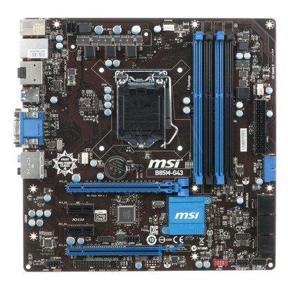 MSI B85M-G43 Intel B85 LGA 1150 (2xPCX/VGA/DZW/GLAN/SATA3/USB3/DDR3/CROSSFIRE) mATX