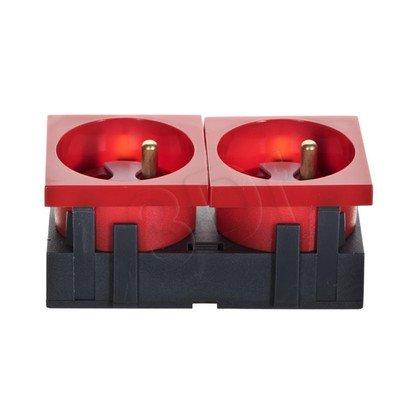 Gniazdo elektr. 45x90 z kluczem czerwone, 45 stopni