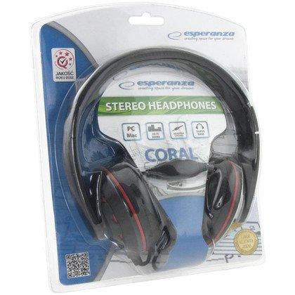 Słuchawki nauszne Esperanza CORAL EH144K (Czarno-czerwony)