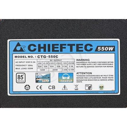 ZASILACZ CHIEFTEC CTG-550C (550W) MODULARNY 80+ BRONZE
