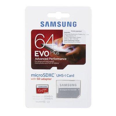 Samsung micro SDXC EVO Plus 64GB Class 10,UHS Class U1