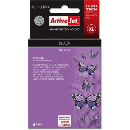 ActiveJet AB-1100BNX (AB-1100Bk) tusz Black do drukarki Brother (zamiennik LC1100Bk, LC980Bk)