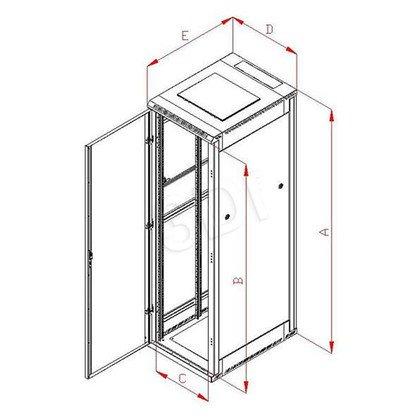 """Triton Szafa rack 19"""" stojąca demontowalna RZA-22-A68-CAX-A1 (22U, 600x800mm, przeszklone drzwi, kolor jasnoszary RAL7035)"""