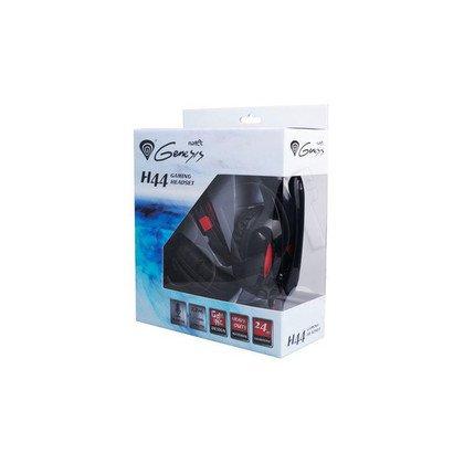 Słuchawki nauszne z mikrofonem Natec H44 (Czarno-czerwony)