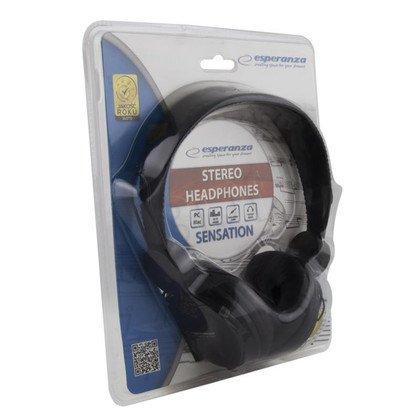 Słuchawki nauszne z mikrofonem Esperanza SENSATION (Czarny)