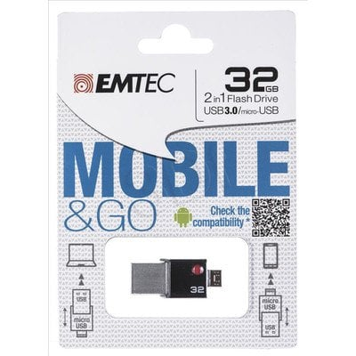 Emtec Flashdrive MOBILE&GO OTG T200 32GB USB 3.0 Czarny