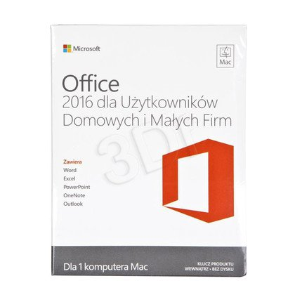 Office Mac Home Business 1PK 2016 Polish Medialess