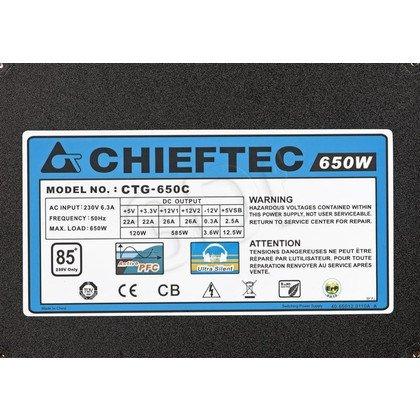 ZASILACZ CHIEFTEC CTG-650C (650W) MODULARNY 80+ BRONZE