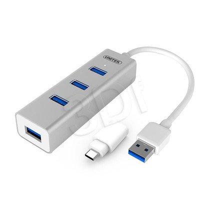 UNITEK HUB 4XUSB 3.0 + USB TYP-C Y-3082B SREBRNY