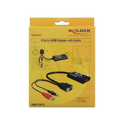 DELOCK ADAPTER VGA + AUDIO 3.5 JACK + ZASIL. USB - HDMI