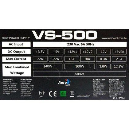 ZASILACZ AEROCOOL PGS VS-500 (500W) BULK - 80+ BRONZE