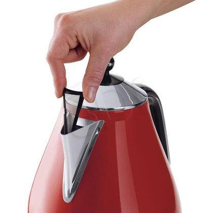 Czajnik elektryczny Delonghi Icona KBO 2001.R (1,7l 2000W Czerwony/czarny/stalowy)